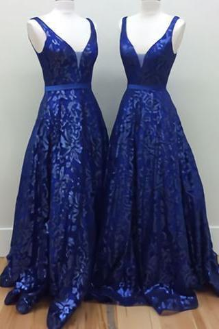 2017 A-line royal blue lace v-neck long prom dress,P2058