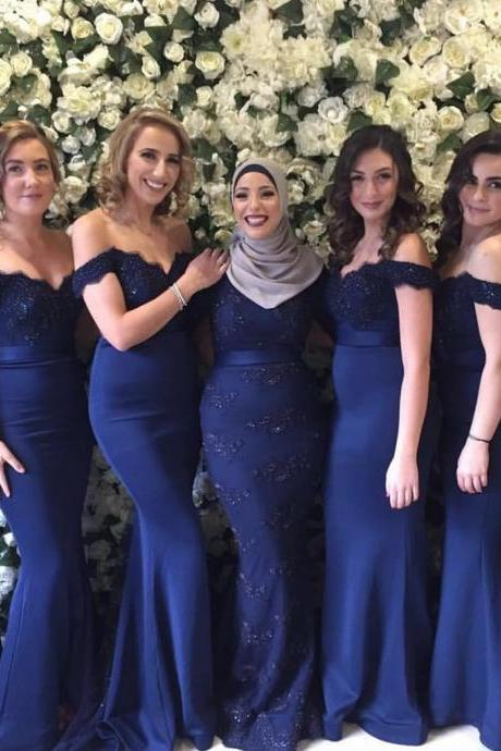 2017 Long blue off shoulder mermaid Bridesmaid Dresses,P2064