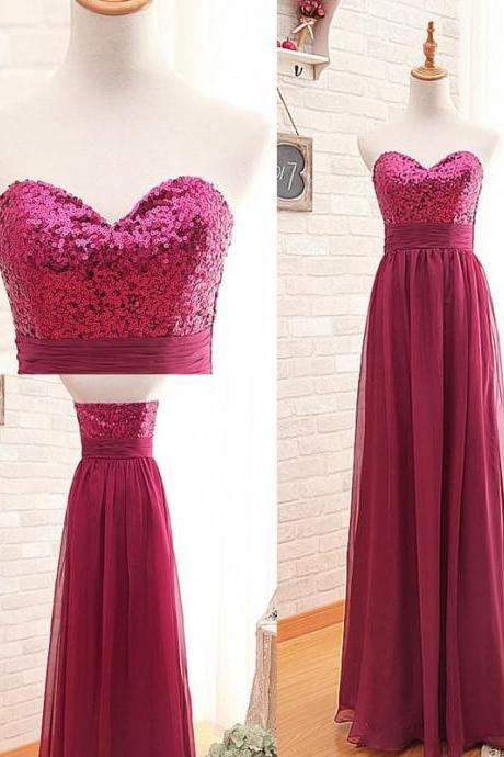 Fashion Bridesmaid Dress,Sweetheart Bridesmaid Dress,Sequin Bridesmaid Dress,Red Bridesmaid Dress,A-line Sexy Bridesmaid Dress,B2072