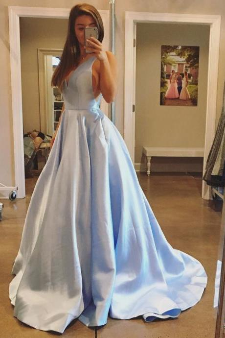 2018 A-line Princess V Neck Sleeveless Grace Chapel Train Prom Dresses,P2078