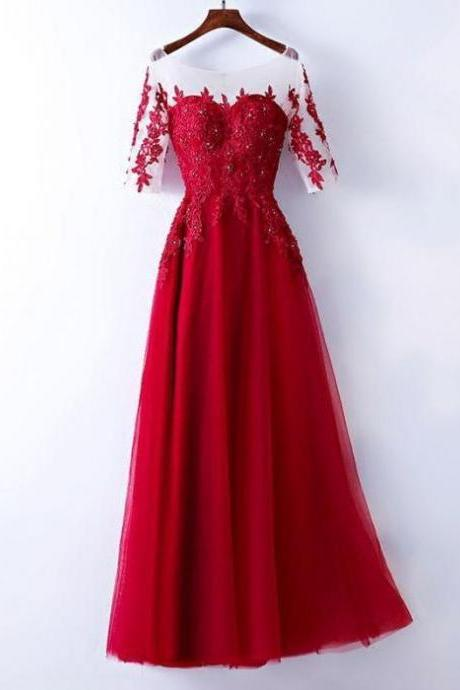 CHIC A-LINE SCOOP TULLE BURGUNDY APPLIQUE LONG PROM DRESS EVENING DRESS,P2098