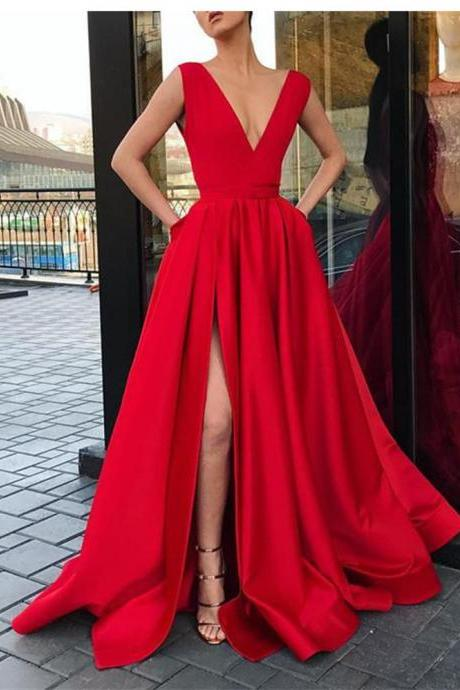 Elegant Satin V neck Long Evening Party Dresses with Slit Women Formal Prom Dress with Straps 2019,P2137