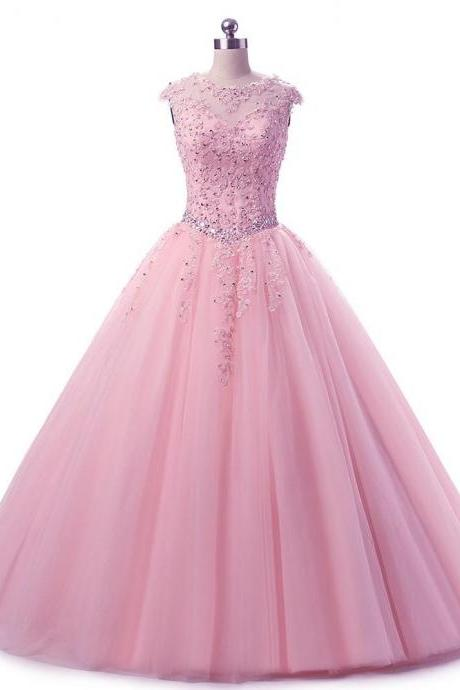 Cap Sleeves Lace Appliques Quinceanera Dresses Beaded Sweet 16 Dresses Ball Gown Prom Dresses,P2148