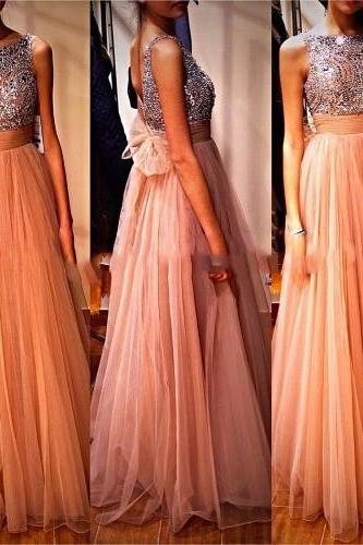 Stunning New Boat Neck Crystal Beading Chiffon Custom Made Prom Dress Long,P2154