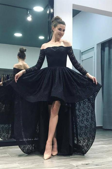 Off Shoulder Black/Pink Lace High Low Prom Homecoming Dresses Long Sleeves 2018 front short long back evening party gowns,P2158