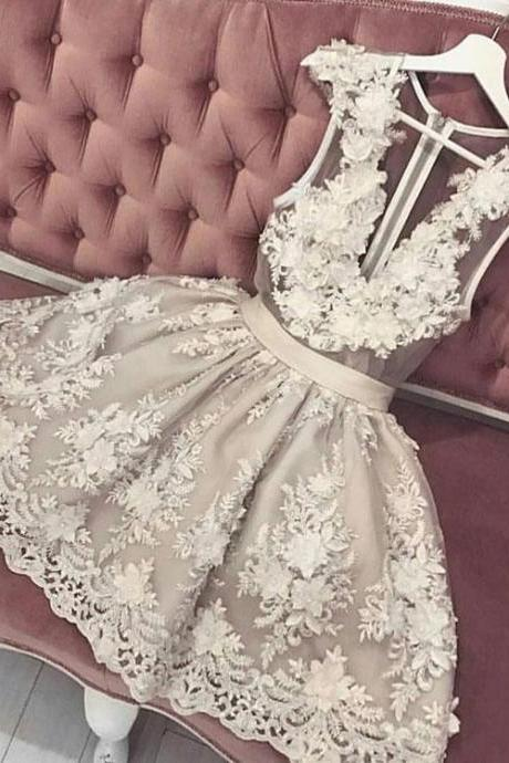 Cute lace v neck short prom dress, homecoming dress,H2182