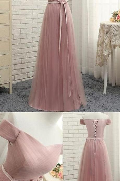 Pink Evening Prom Dress Fine Long Prom Dresses With Tulle A-line/Princess Lace Up Ruffles Dresses,P2190