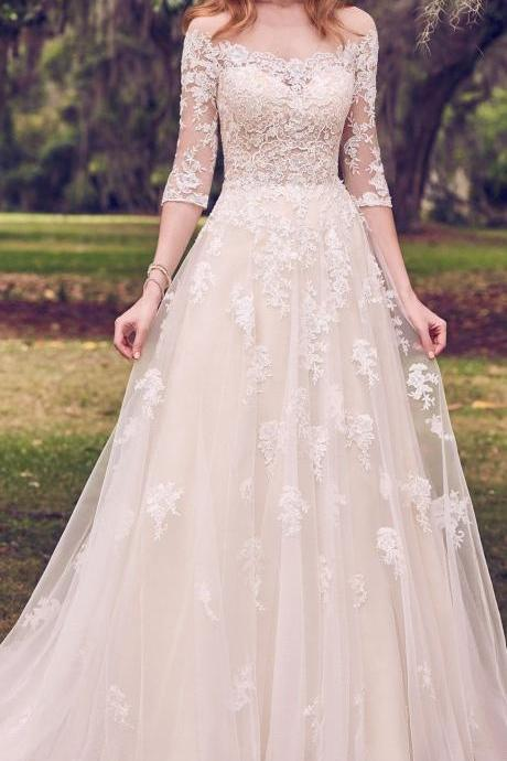 Gorgeous Lace White Wedding Dresses,Half Sleeves Appliques Tulle Bridal Dresses,Romantic Wedding Gown,B2221