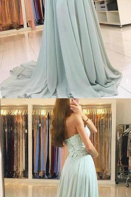Charming A Line Sweetheart Open Back Chiffon Mint Lace Long Prom Dresses with Train, Formal Evening Dresses,P2223