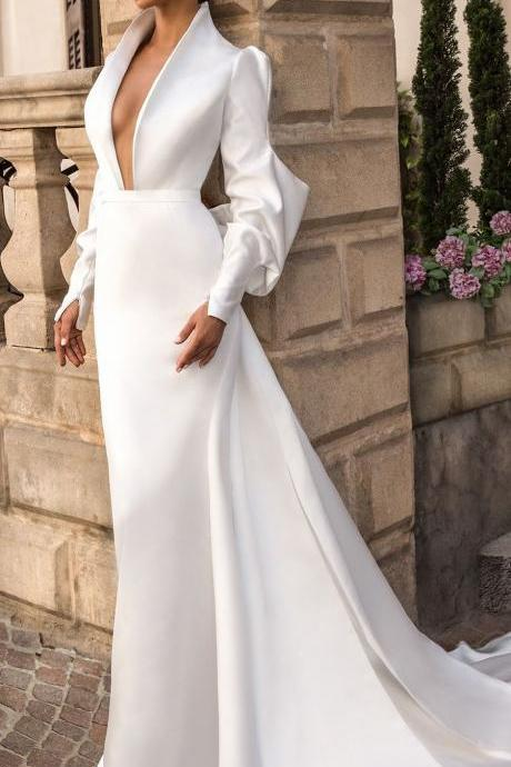 Delicate Satin Wedding Dresses with Full Sleeve Open Back Wedding Gowns with Big Bow,P2225