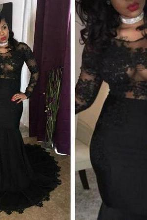 2018 Black Girls Sheer Long Sleeves Mermaid Prom Dresses Tulle Lace Appliques Formal African Evening Party Gowns,P2283