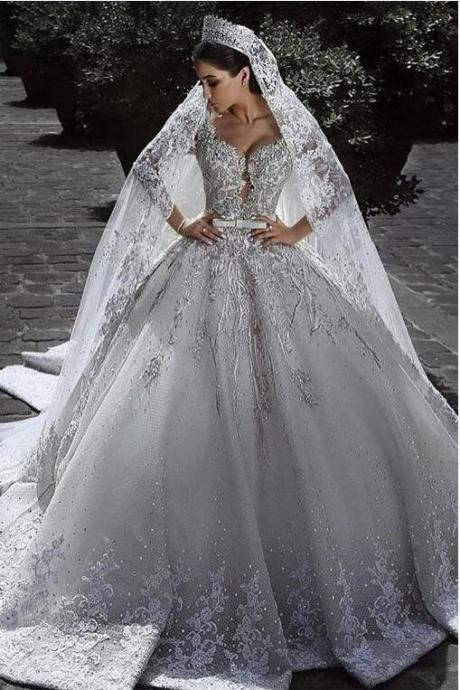 57570e911b1f Sexy Ball Gown Sweetheart Long Sleeve Lace Appliques Tulle Long Wedding  Dresses