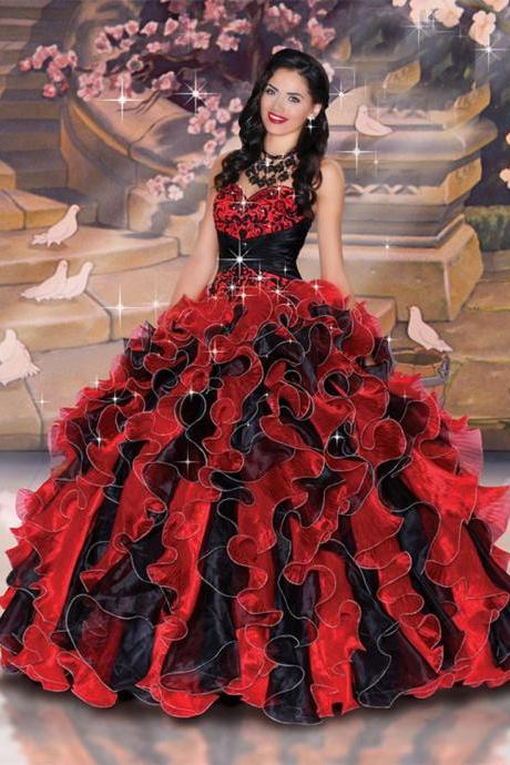 Classic Red and Black Quinceanera Dress,Embroidery Ball Gowns,Debutante Gown,Masquerade Ball Gowns,Organza Ball Gowns,Prom Ball Gowns,Party Ball Gowns,Ball Gown Dresses,Sweet 16 Dress,P2324