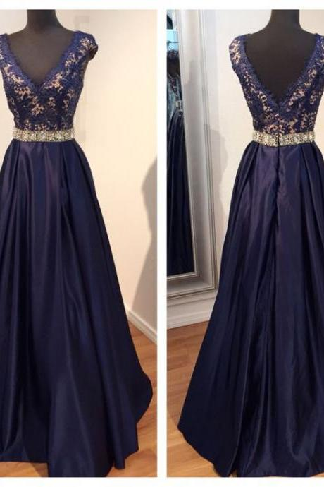 Glamorous Prom Dress,Navy Blue Prom Dress,Lace Prom Dress,Beaded Prom Dress,Cap Sleeve Prom Dress,Long Prom Dress,Prom Ball Gowns,V-Neck Prom Dress,Satin Prom Dress,Prom Dress Plus Size,Prom Dress Costume,Prom Dress With Waistband,P2327