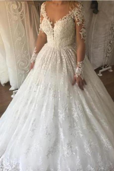 Ivory Wedding Dresses, Wedding Dresses Lace, Ball Gown Wedding Dresses,W2346