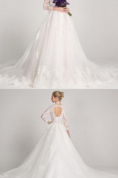 A-Line Bateau 3/4 Sleeve Open Back Tulle Wedding Dress with Appliques Beading,W2351