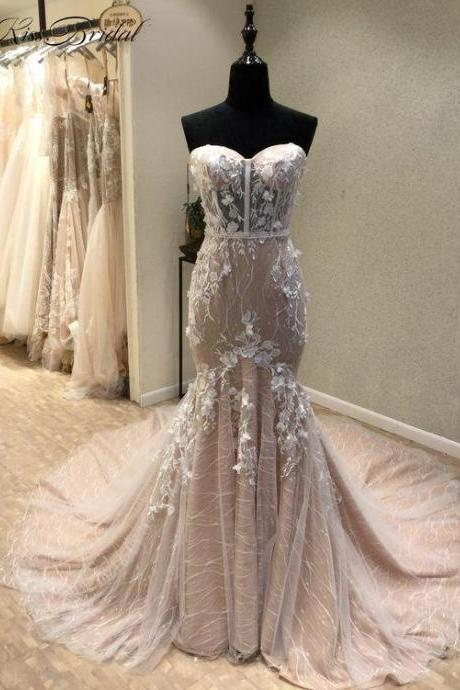Mermaid Sweetheart Court Train Lace Wedding Dress with Appliques,W2362