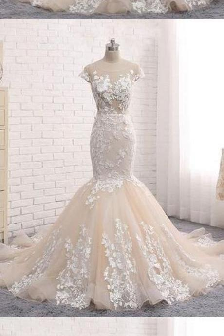 Chic Wedding Dresses Backless Trumpet Mermaid Scoop Lace Long Sexy Bridal Gown,W2366