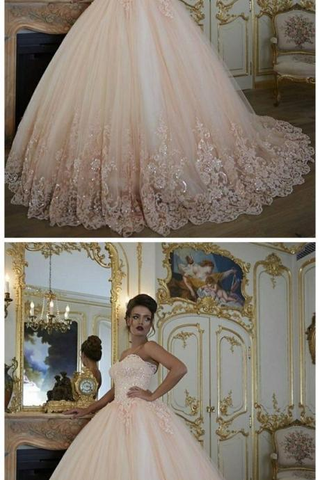 Pink Prom Ball Gown, Prom Dresses , Lace Applique Prom Dress, Puffy Prom Dress, Elegant Prom Dress, Beaded Prom Dress, Sparkly Prom Dress, Luxury Wedding Dress, Affordable Prom Dress,W2368