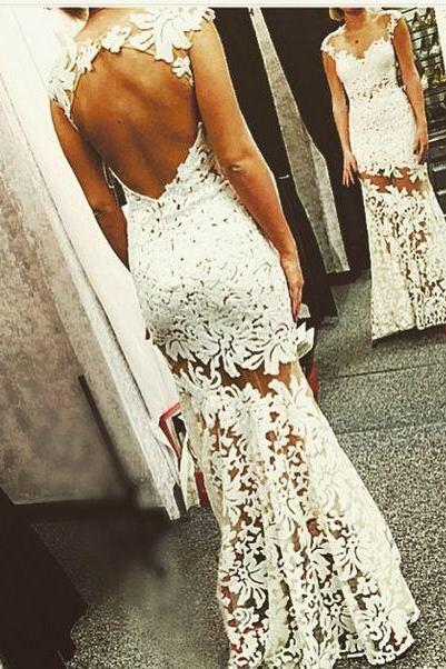 Charming Mermaid Backless Wedding Dress,Sexy Lace Wedding Dress Bridal Dresses,W2374