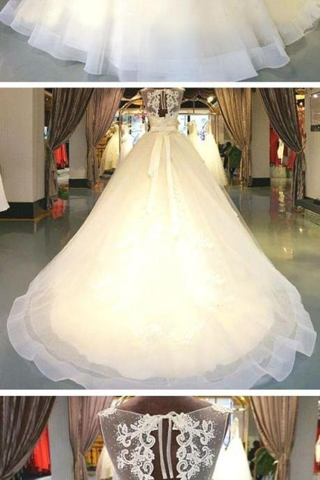 Ball Gown Illusion Neck Chapel Train Lace Over Tulle Made-To-Measure Wedding Dresses with Beading Appliques Sash Ribbon,W2385