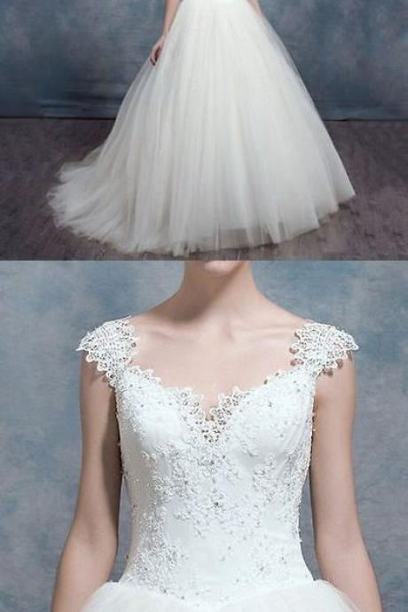 New Style White Ivory Lace Wedding Dresses Ball Gown Bridal Dress,W2386