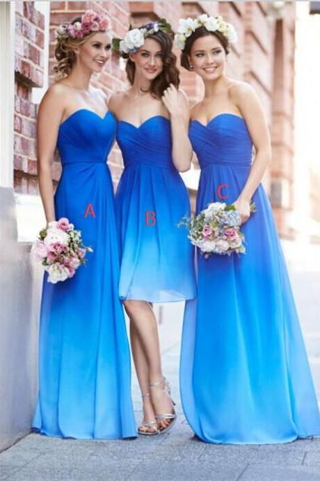 New Arrival Royal Blue Ombre Chiffon Long Bridesmaid Dress,A Line Floor Length Sweetheart Gradient Short Bridesmaid Dresses, Cheap Simple Formal Women Prom Dress ,BD2393