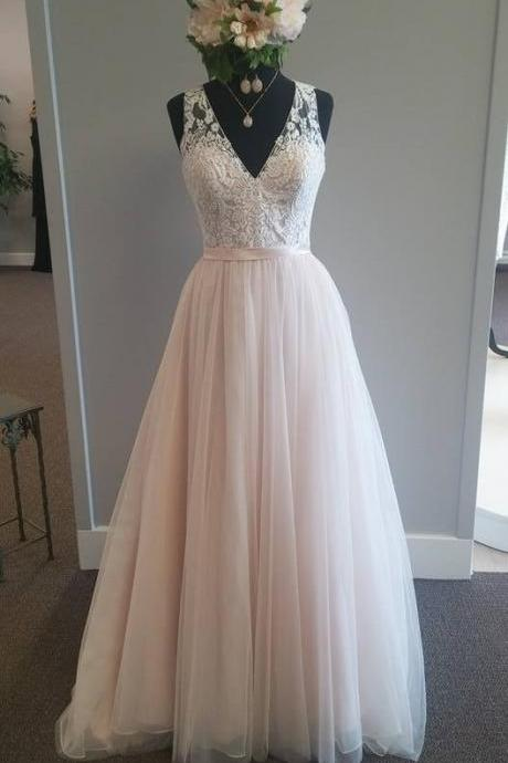 Light Pink Sleeveless Lace Appliqués A-line Floor-Length Wedding Dress, Plus Size Wedding Dress,W2401