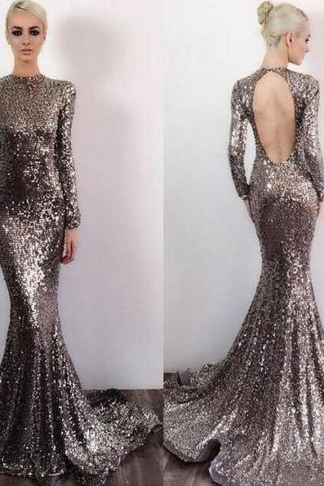 Long Sleeve Sequin Open Back Mermaid Shinny High Neck Floor-Length Prom Dresses,P2409