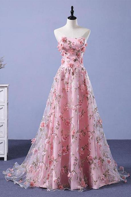 Pink A-line Sweetheart Strapless Sweep Train Floral Print Long Lace Prom Dresses with flowers ,P2416