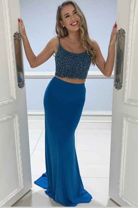 Two Piece Spaghetti Straps Blue Long Prom Dress with Beading,P2432