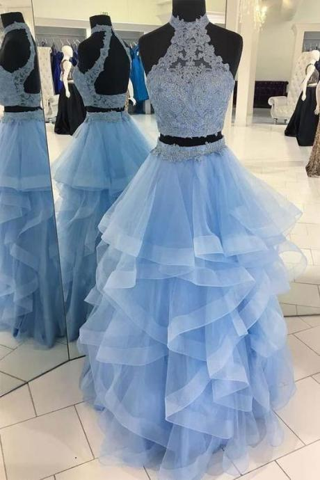 Unique Pale Blue Two Pieces Backless Organza Prom Dress Long Evening Dresses,P2470