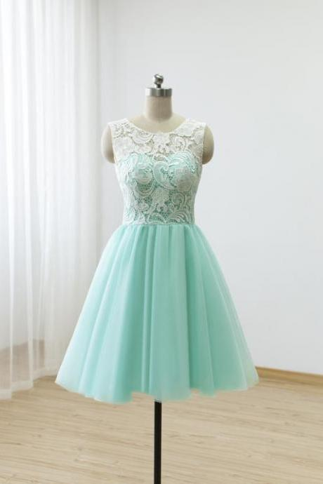 Mint Green Scoop Neck A Line Prom Dresses Sleeveless Short Bridesmaid Dresses,H2475