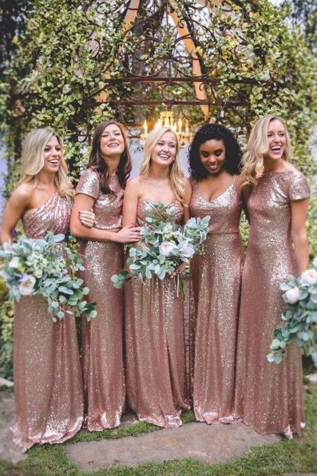 Elegant Rose Gold Sweetheart Floor-Length Sequin Prom Dress Cheap Bridesmaid Dresses,B2476