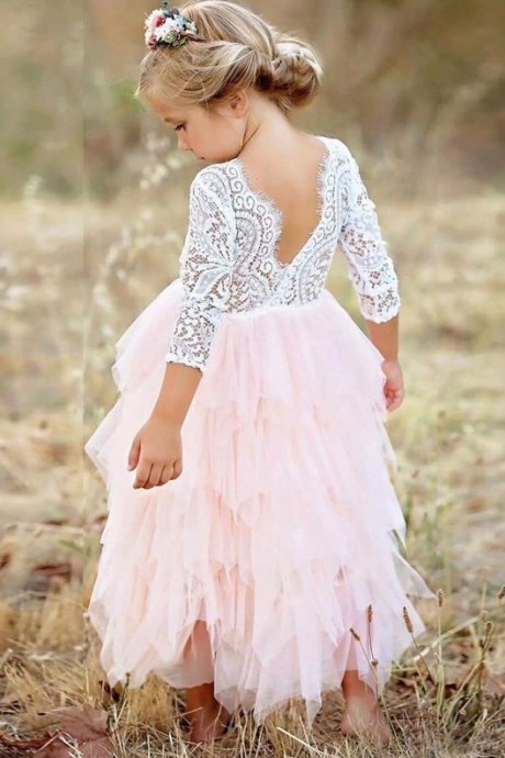 A-Line Scoop 3/4 Sleeves Pink Tiered Flower Girl Dress with Lace,FG2530