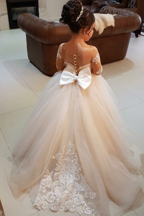 Ball Gown Round Neck Light Champagne Tulle Flower Girl Dress with Appliques,FG2534
