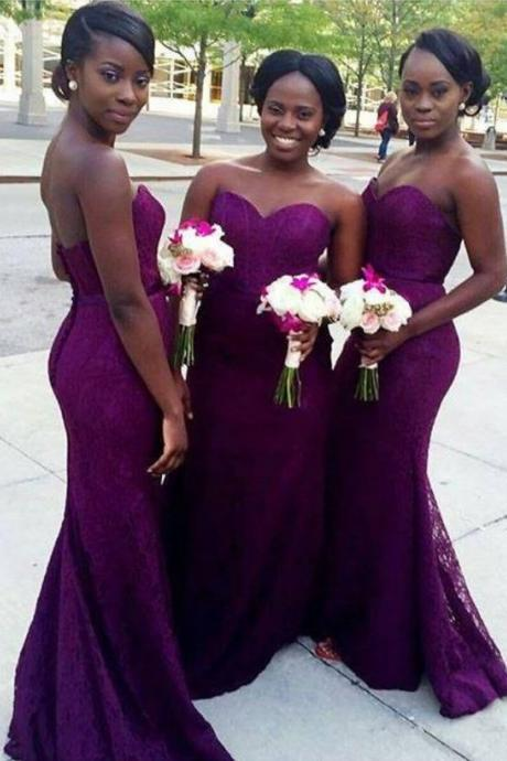 Purple Mermaid Lace Bridesmaid Dresses Sweetheart Long Corset Bridesmaid Dresses Cheap Backless party Gowns,BD2570
