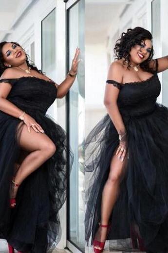 Sexy Black Plus Size Prom Dresses Side Split Tutu Tulle Off The Shoulder Cheap Party Dresses Women Formal Wear Sexy African Evening Gown,P2576