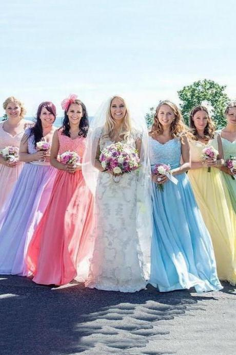 Sexy Bridesmaid Dresses A-line Straps Floor-length Chiffon Long Bridesmaid Dresses,BD2581