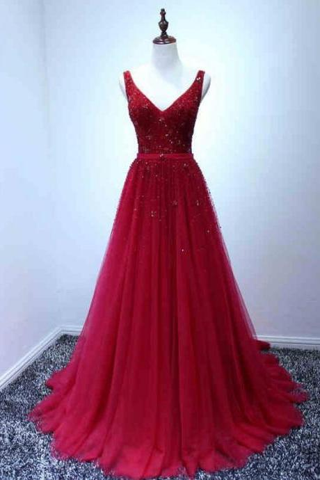 Beautiful Prom Dresses V-neck Sweep/Brush Train Beading Long Prom Dress/Evening Dress ,P2595