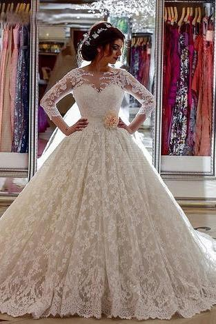Popular Lace Ball Gown Wedding Dress , Fashion Bridal Dress,W2609