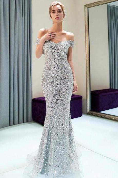 Sparkly Off Shoulder Mermaid Silver Beaded Backless Sequin Prom Dresses,P2626