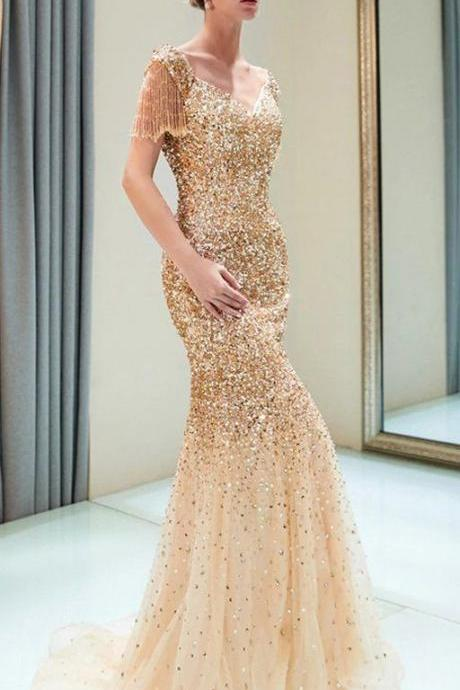 Sparkly Sequin Cap Sleeve Tulle Mermaid Backless Beaded Prom Dress,P2627