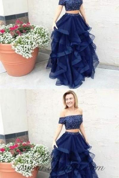 Two Piece Off the Shoulder Navy Blue Tulle Prom Dresses with Beading,P2631