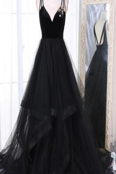 A-Line V-Neck Sweep Train Pleated Tiered Black Tulle Prom Dresses,P2634