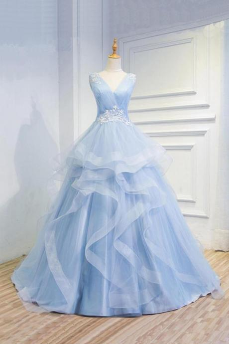 Sweetheart Baby Blue Organza V neck Wedding Gowns,Ruffles Appliques Wedding Dress,W2651