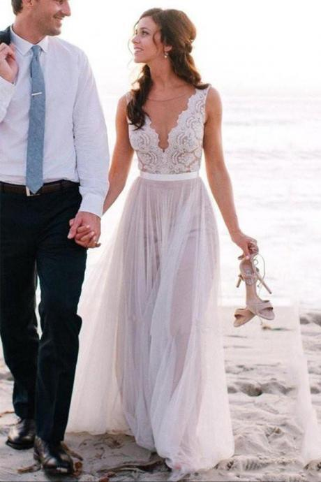 Beach Wedding Dress,Lace Bridal Gowns,A Line Tulle Prom Dress,Bridal Dress For Beach Wedding,W2653