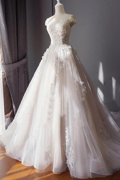 Ball Gown Off Shoulder Sweetheart Appliques Beading Tulle Wedding Dresses,W2654
