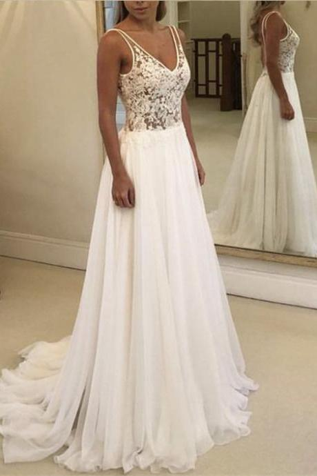 A Line Lace Bodice Bridal Dresses,Chiffon V Neck Sleeveless Beach Wedding Dresses,Backless Spaghetti Straps Wedding Gowns,Wedding Dresses,W2681