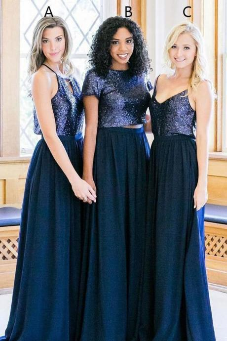 Blue A Line Brush Train Sparkle Cheap Bridesmaid Dresses,Wedding Party Dress ,B2701